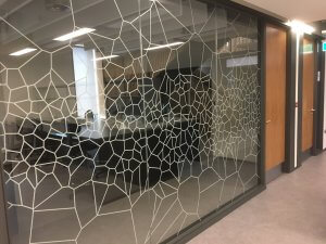 Voronoi Optically Clear Graphics for glass partitions